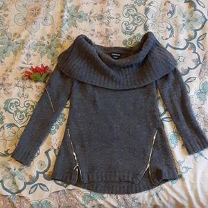bebe Knit Off Shoulder Cowl Zip Sweater S XS